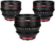Canon CN-E EF mount prime lens set including 24, 50 and 85mm 4K digital cinema lenses (CN-E24mm, CN-E50mm, CN-E85mm)