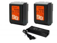 Dynacore 2x DPM-98S Tiny V-Mount Batteries & FREE D-TRAVEL-2 Dual D-Tap Travel Charger Kit