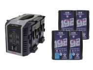 IDX 4 x ENDURA DUO-C198 Batteries, 1 x VL-4Se Simultaneous Charger