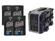 IDX 4 x ENDURA DUO-C98 Batteries, 1 x VL-4Se Simultaneous Charger