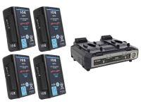 IDX EH-10/2000S 2x Endura E-HL10DS Li-Ion V-Mount Batteries and 1x VL-2000S Simultaneous Charger