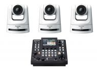 3x Panasonic AW-UE100W PTZ Camera 1x Free Panasonic 1 AW-RP60GJ Camera Control