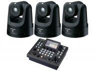Panasonic 3x AW-UE100K PTZ camera supporting NDI and SRT (Black) 1x Free AWRP60 Compact Remote Camera Controller
