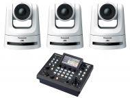 Panasonic 3x AW-UE100K PTZ camera supporting NDI and SRT (White) 1x Free AWRP60 Compact Remote Camera Controller